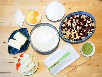 Matcha-Kekse-Zutaten Trail Mix Cookies mit Matcha